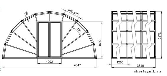 Чертеж арочной конструкции