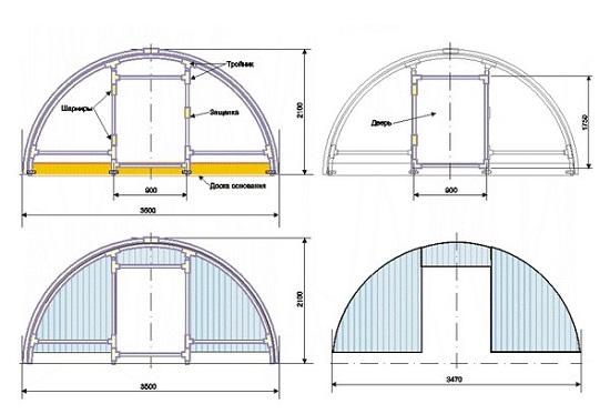 Необходимые чертежи согласно проекту арочной теплицы