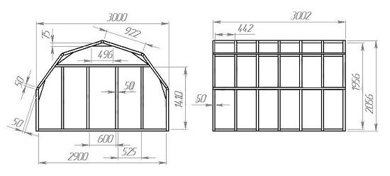 Проект многоугольной теплицы с чертежами ломаной крыши