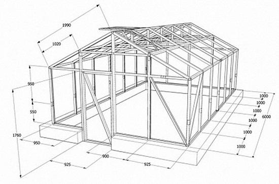 Проект двускатной теплицы с необходимыми размерами