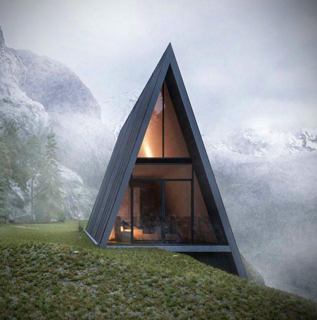 Оригинальный проект дома на склоне в горах