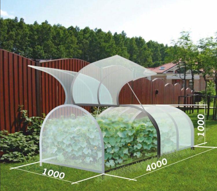 При ширине 4 м теплица имеет высоту 1,15 м и ширину – 1,25 м.