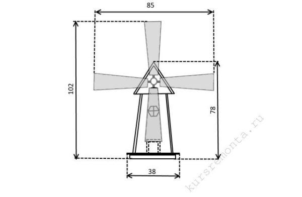 Схему декоративной мельницы достаточно распечатать на принтере, чтобы можно было перейти к дальнейшим действиям